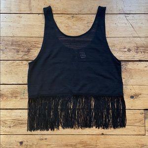 Crochet fringe crop top